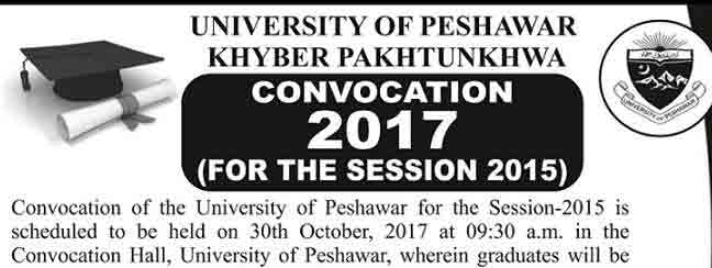 UOP KPK Convocation 2017 Announced Degrees Session 2015