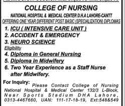 College of Nursing National Hospital & Medical Centre Admissions 2018