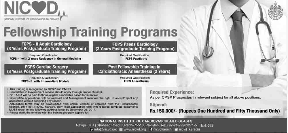 NICVD Karachi Fellowship Training Program 2018 Application Form