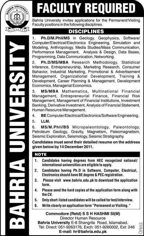 Bahria University Jobs