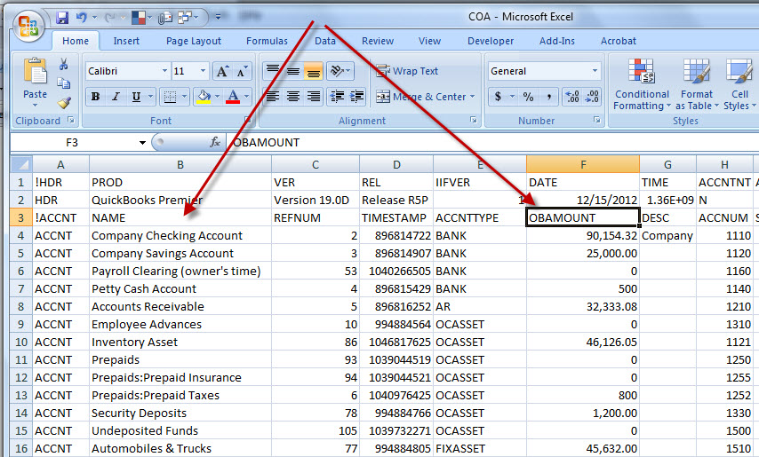 Excell Chart of Accounts