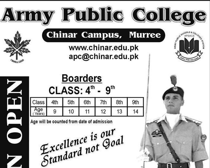 Army Public School Chinar Campus Murree Admissions