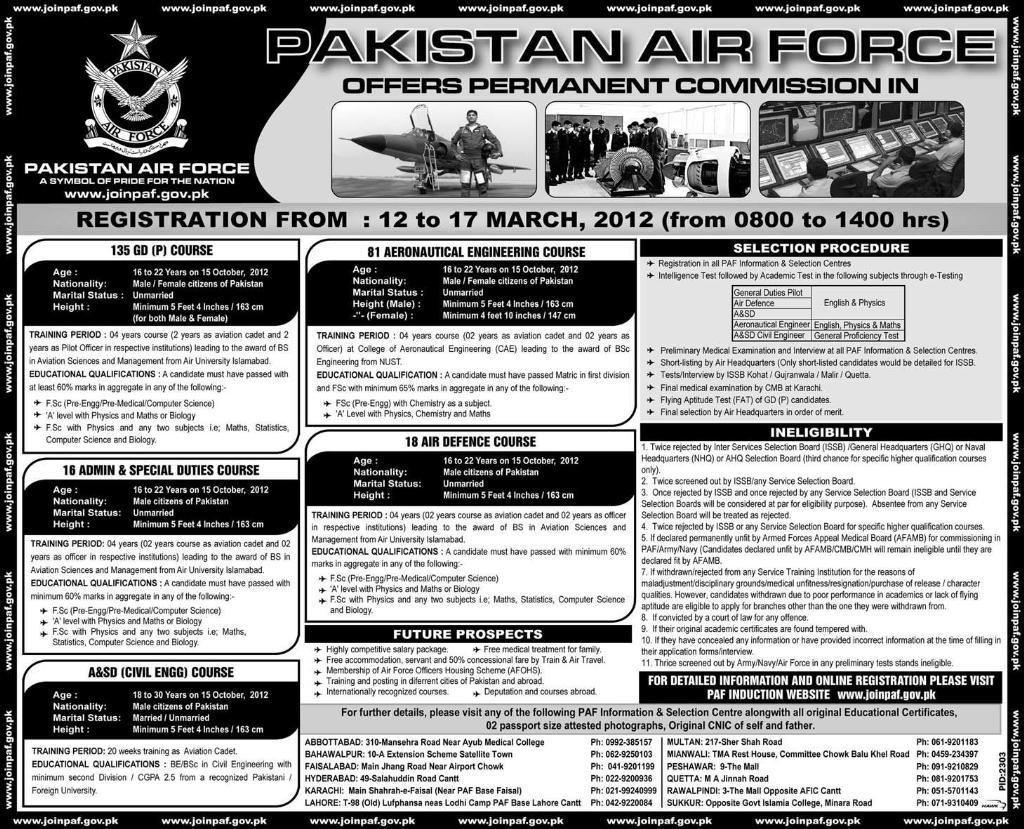 Jobs In Pakistan Air Force 2012