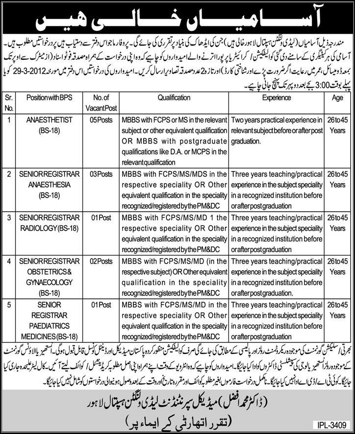 Lady Willingdon Hospital Lahore Jobs 2018 Application Form
