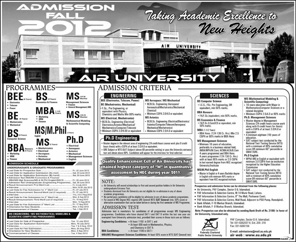 air university islamabad admissions