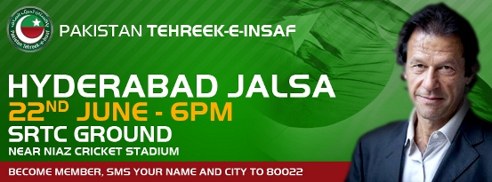 Imran Khan PTI Jalsa in Hyderabad 22-06-2012