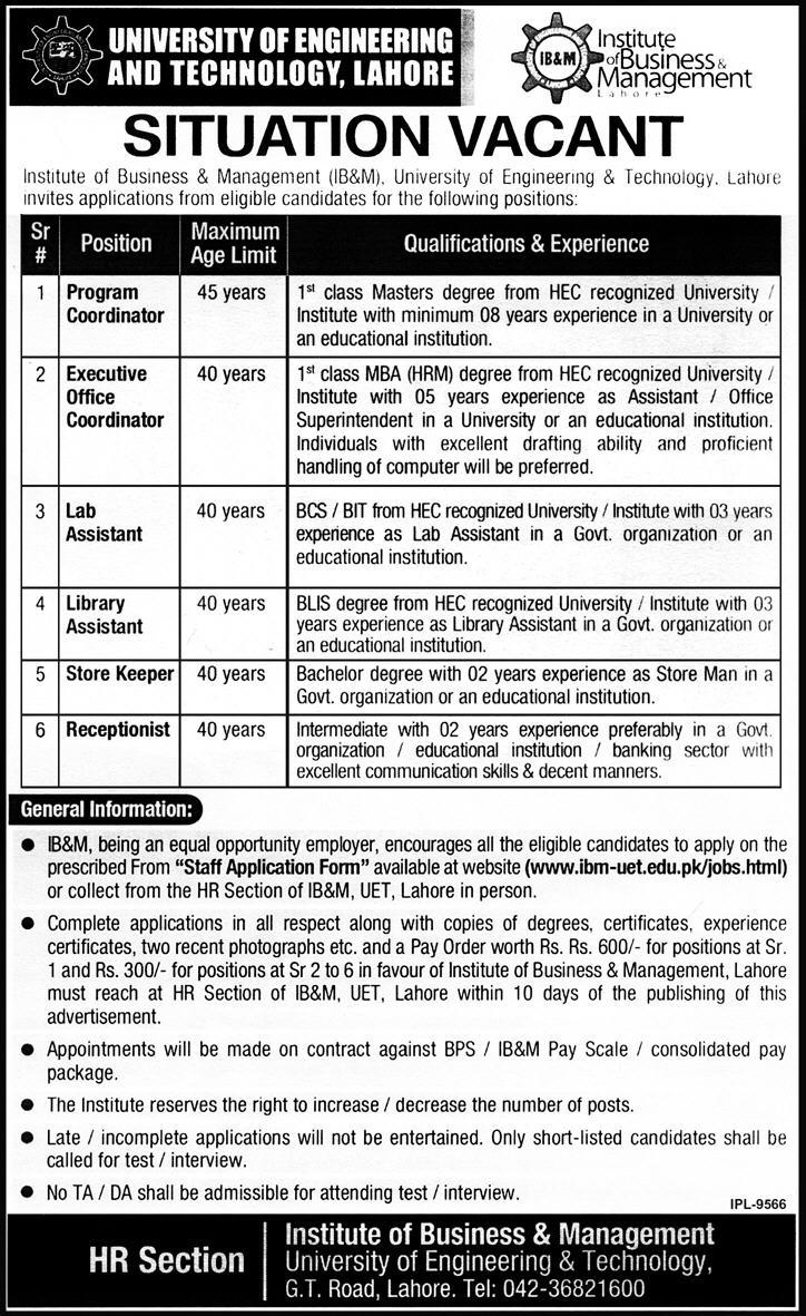 Jobs at UET - University of Engineering & Technology,Lahore