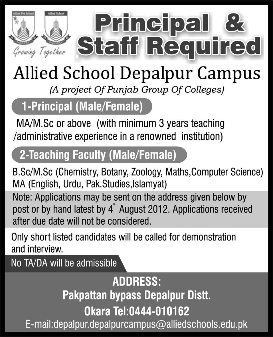 Principal and Teaching Jobs in Allied School Depalpur Campus