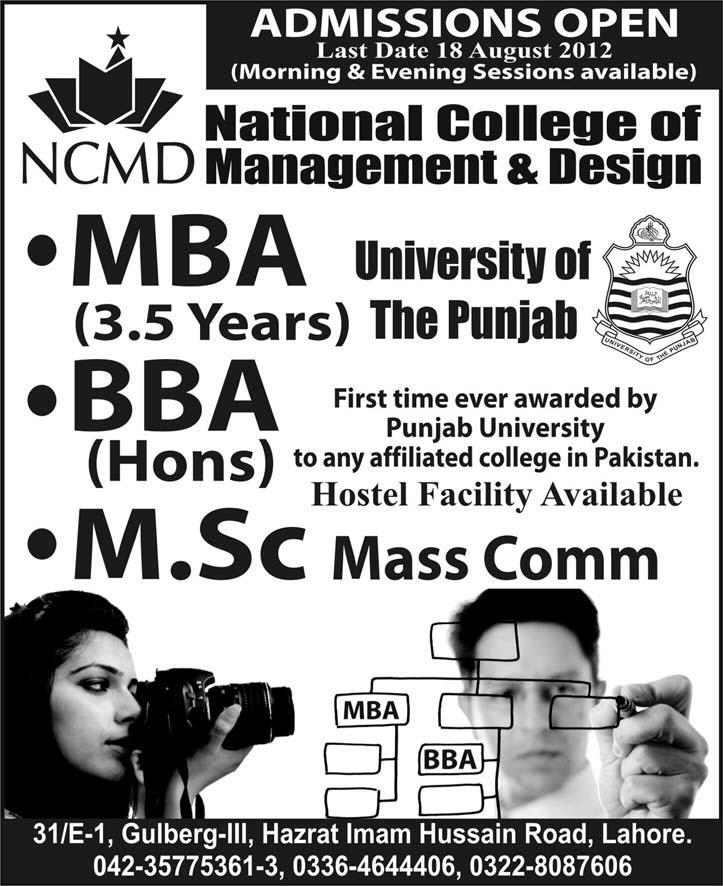Admissions Open in National College of Management and Design.