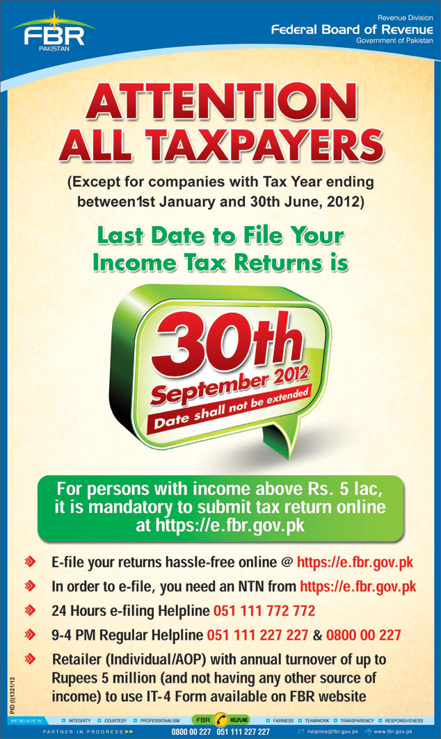 FBR Income Tax Deposit Last Date 30 September 2012