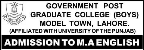 Government Postgraduate College Model Town Lahore Admissions 2012