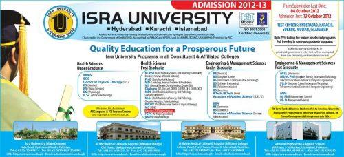 Isra University Admissions 2012-2013