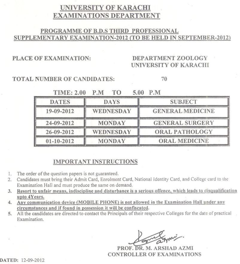 University of Karachi B.D.S Supplementary Exam 2012