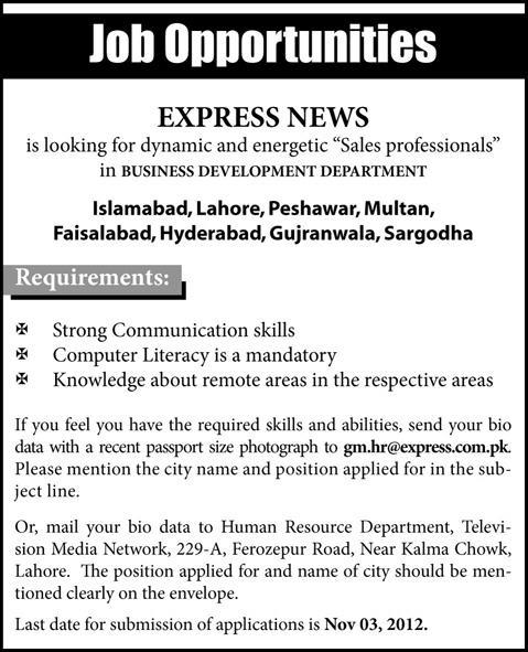 Express News Looking Sales Professional for Business Development