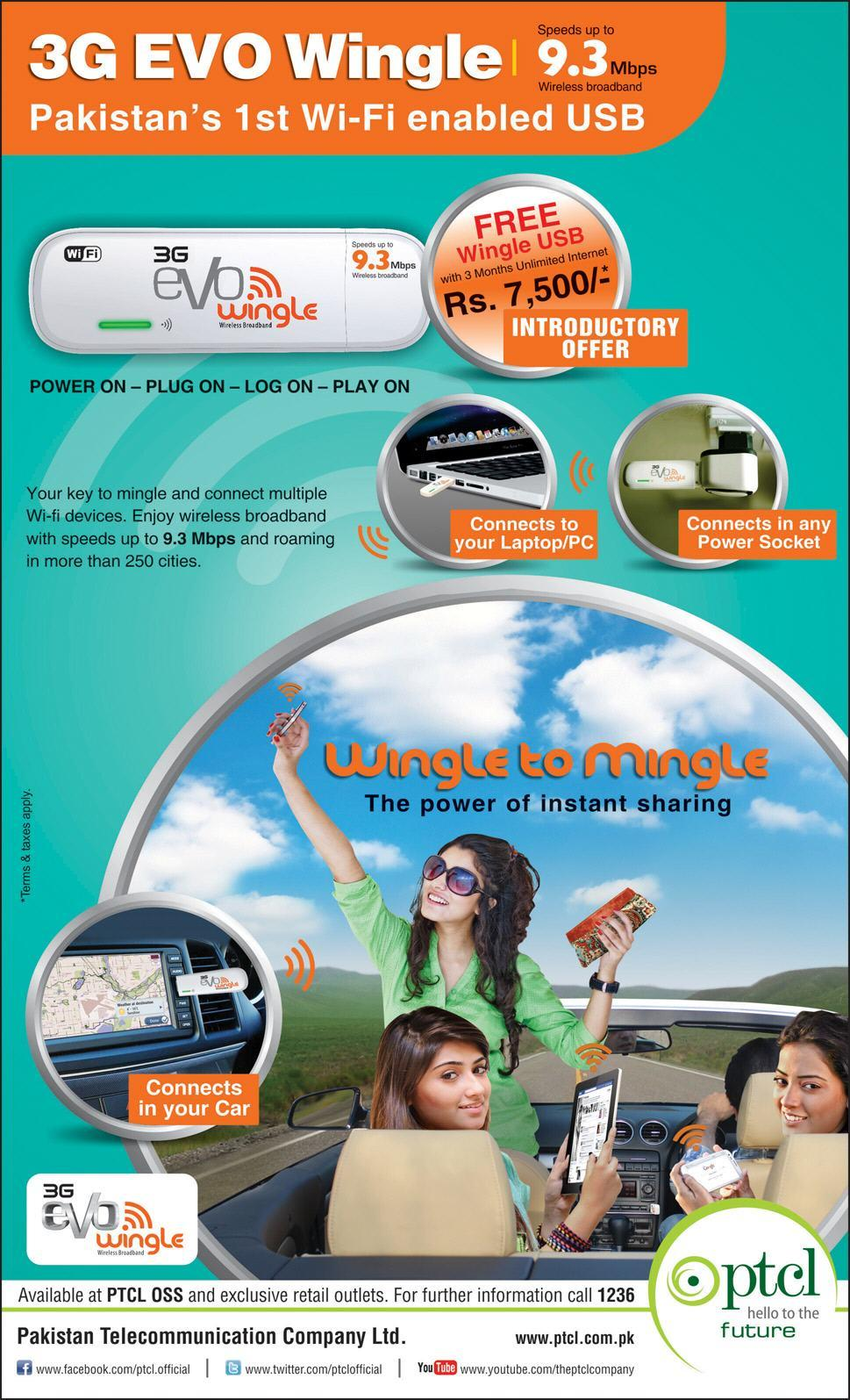 PTCL Brings 3G Evo Wingle 9.3 Mbps Wifi Enabled USB