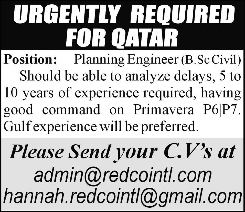 Planning Engineer Jobs in Qatar for Pakistan 2012