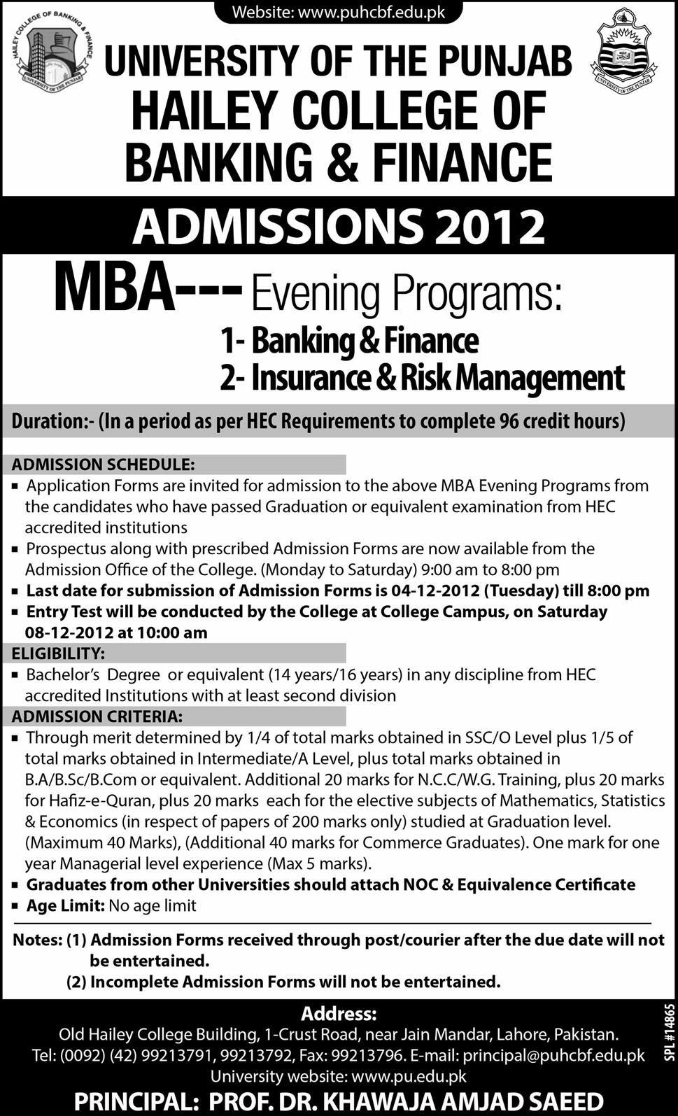 Admission in MBA at Hailey College of Commerce
