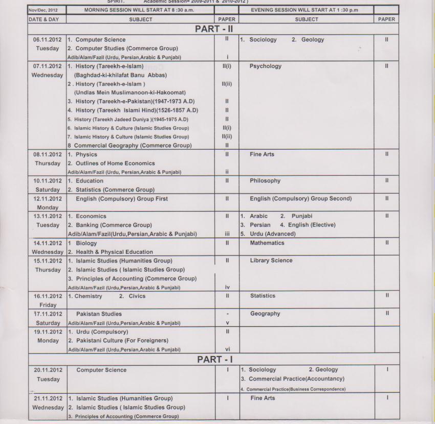BISE Sargodha Board inter Supplementary Date Sheet 2012