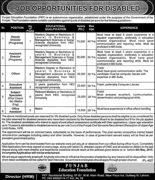 Punjab Education Foundation PEF Jobs 2018 NTS Test Result