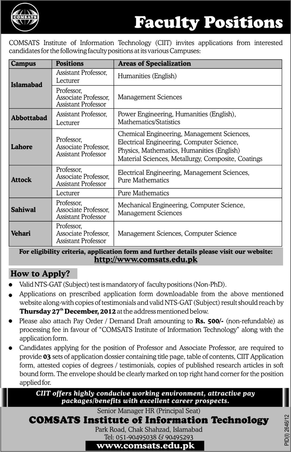 Jobs in Comsats Institute of Information Technology