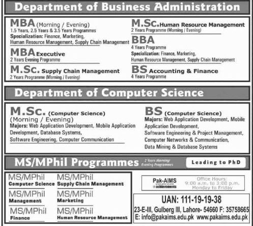 Pak Aims The Institute Of Management Sciences Admissions 2018