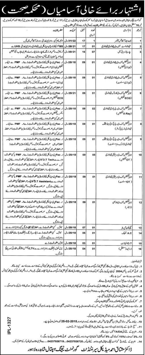 Govt Teaching Hospital Shahdara Lahore Jobs 2018