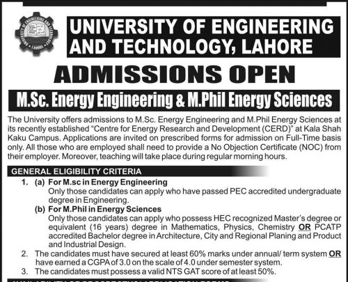 UET M.Sc and M.phil Energy Admissions January 2020