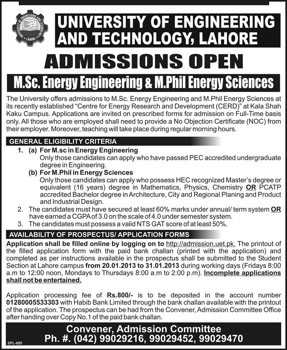 UET M.Sc and M.phil Energy Admissions January 2013