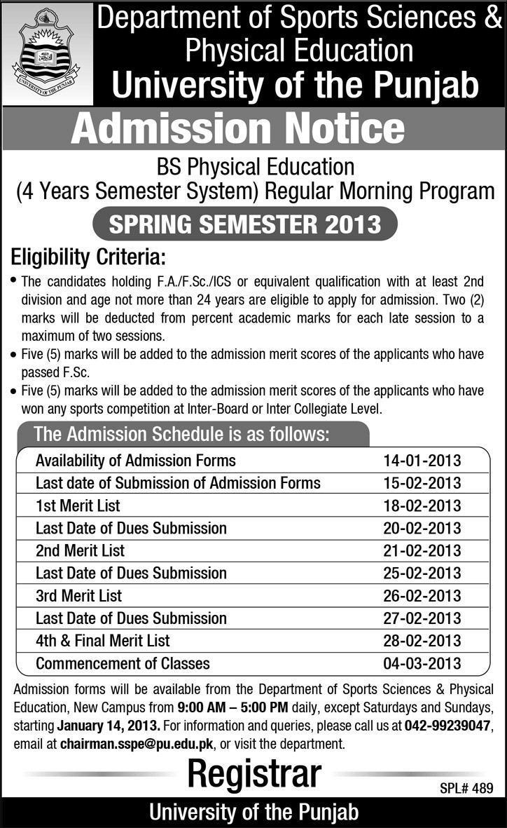 University of Punjab Physical Education