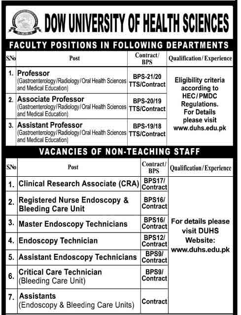 dow-University-jobs 2019