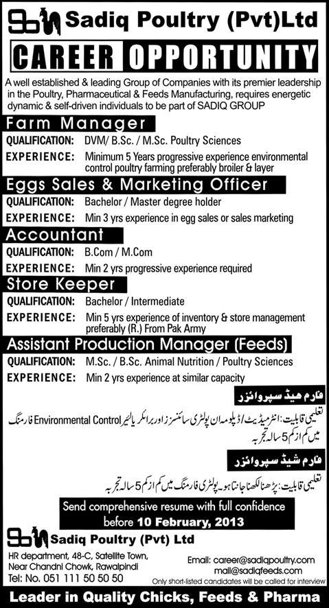 Jobs Opportunities in Sadiq Poultry Farm