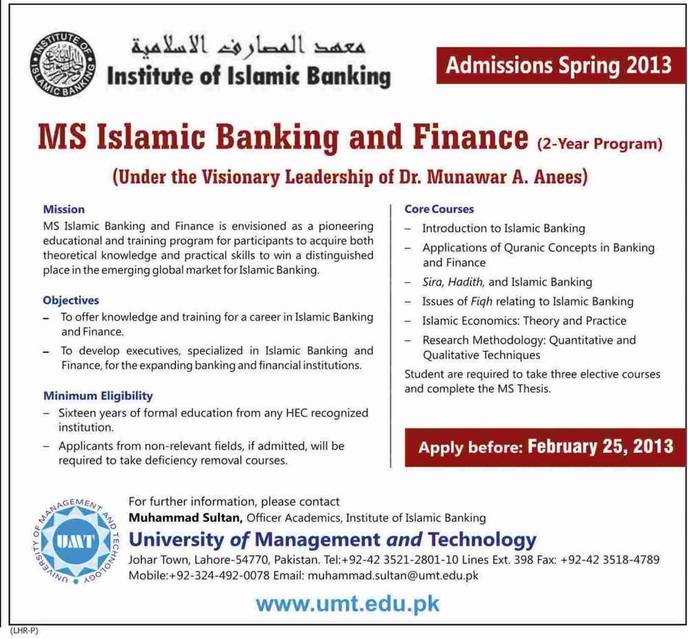MSIslamicBankingFinanceAdmissionsSpring2013