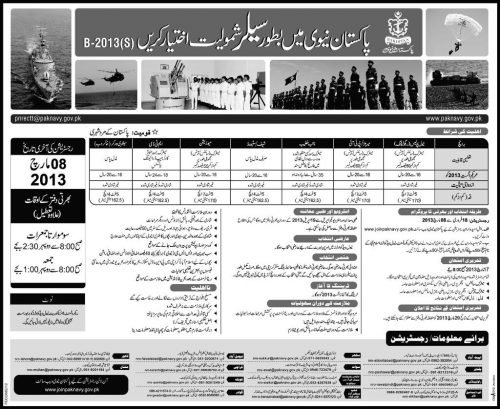 Pakistan Navy New Jobs Opening for 17th-February 2013