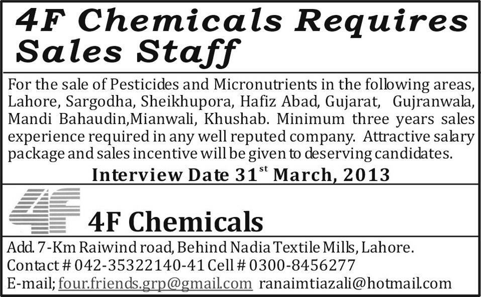 4F Chemicals required sales staff Cities of Pakistan