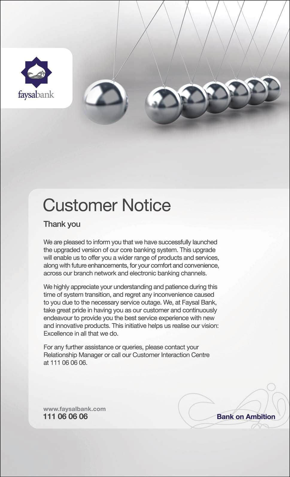 Faysal Bank Customer Notice Core