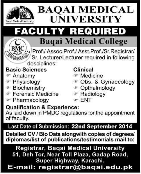 Baqai-Medical-University-Karachi-Jobs-2014