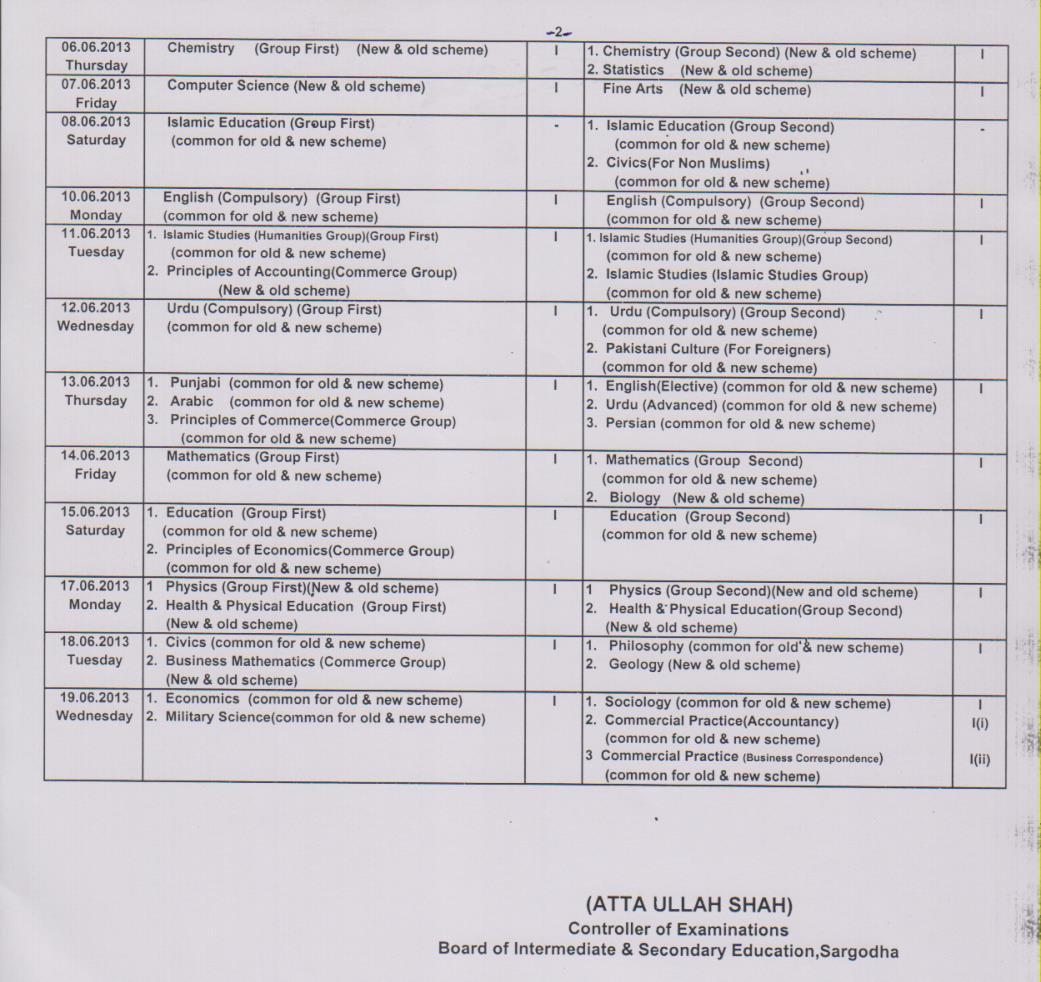 Bise Sargodha Board 11th 12th Class Date Sheet 2013