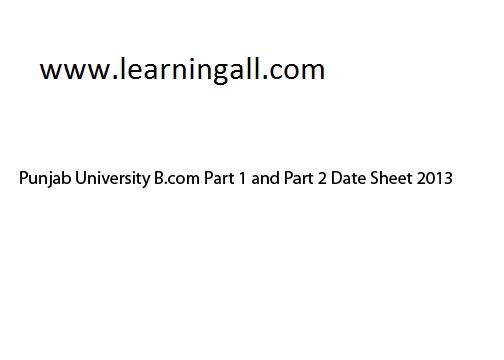 Date sheet Bcom 2013