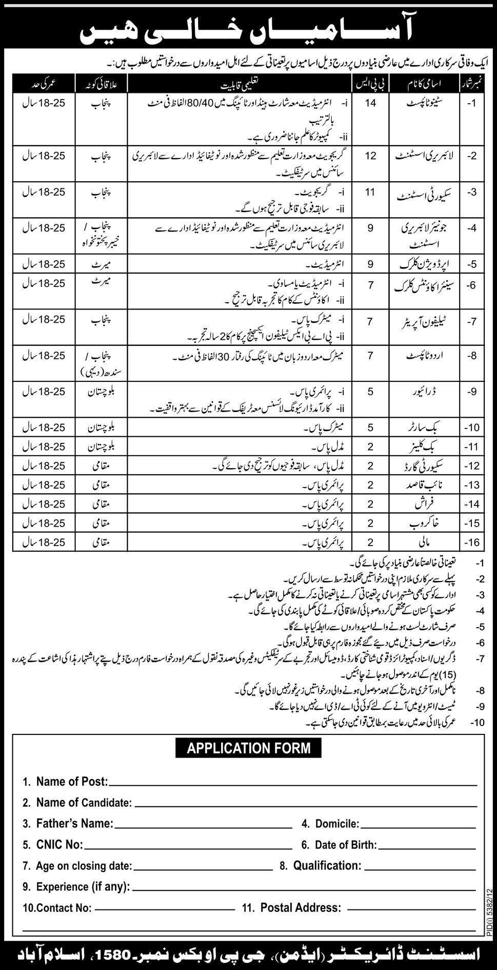 Federal Government Islamabad Jobs in Newspaper Pakistan 2013
