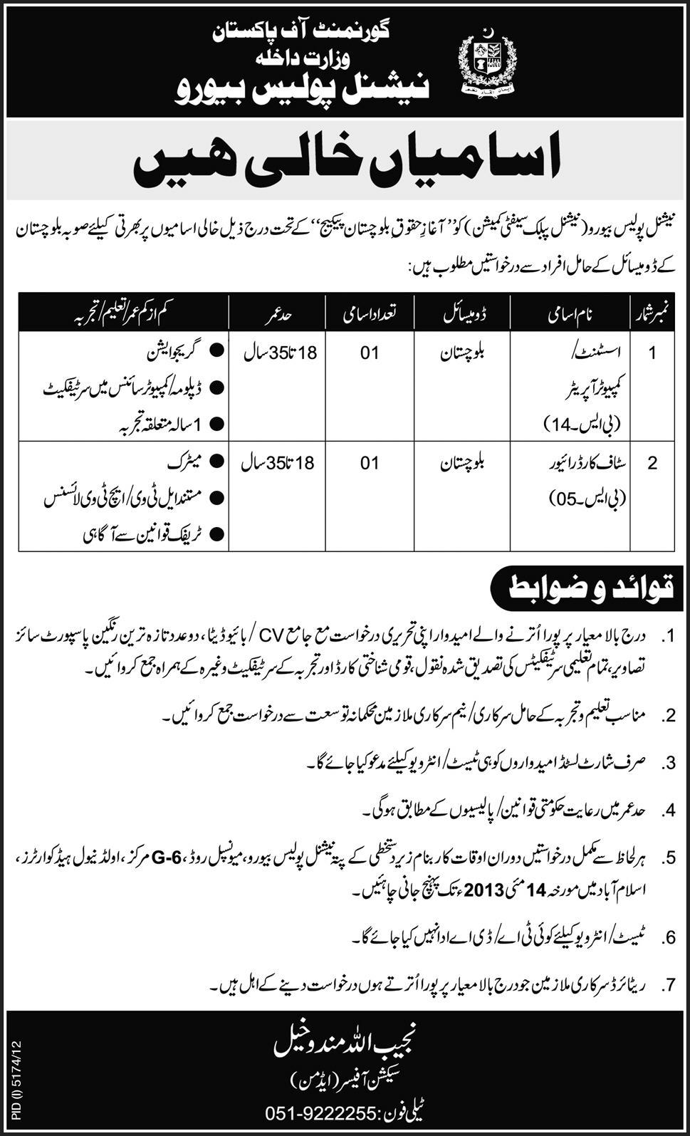 National Police Bureau Govt of Pakistan, Balochistan Jobs