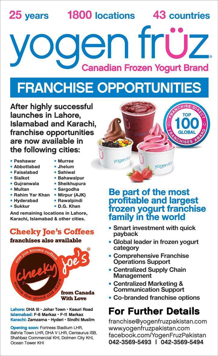 Canadian Frozen Yogurt Franchise Opportunities in Pakistan
