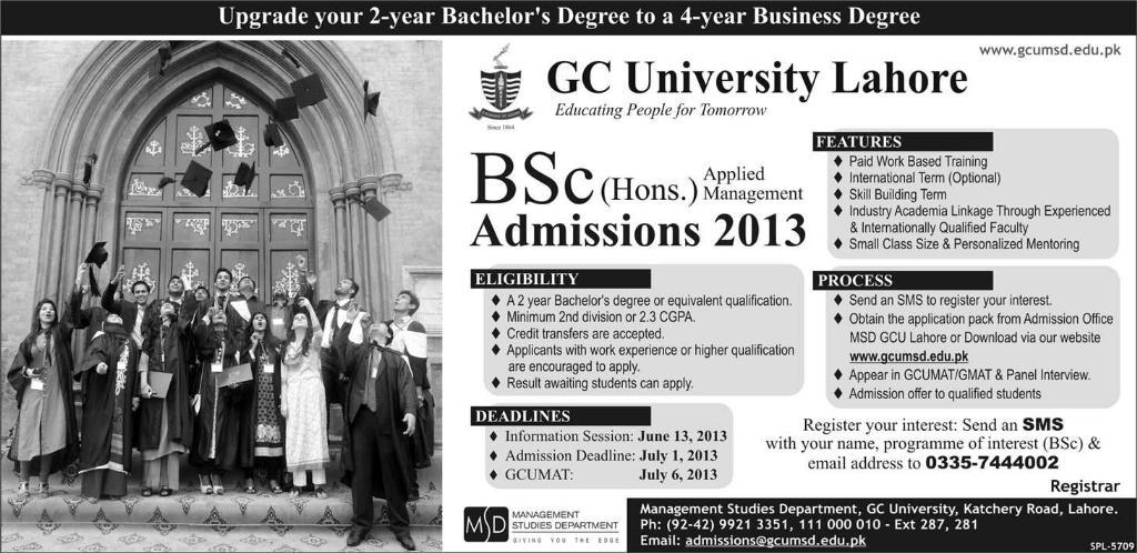 GC University Lahore Bsc Hons Applied Management Admission 2013