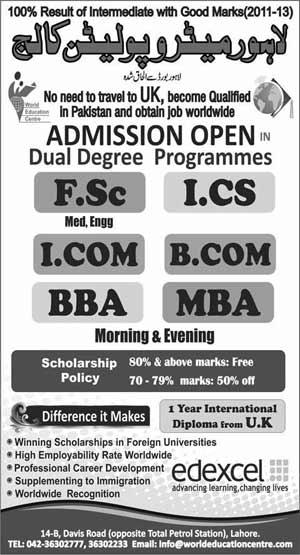 Lahore Metropolitan College Lahore Admissions 2013