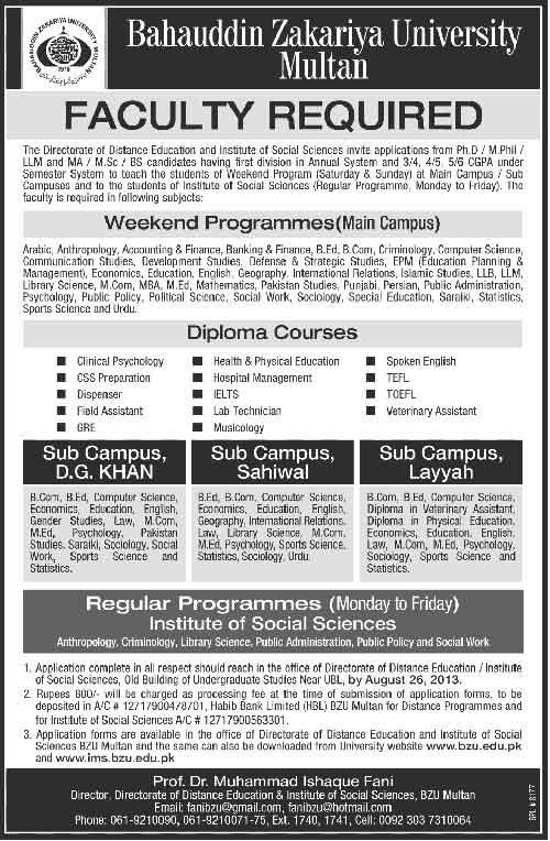 Bahauddin Zakariya University Multan BZU Jobs
