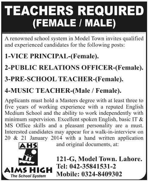 Teaching Jobs Male and Female