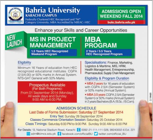 MBA Admissions in Bahria University Karachi Campus