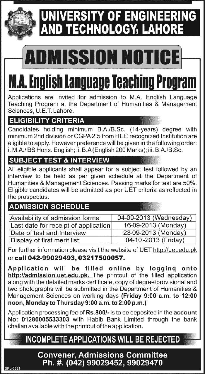 UET MA English Language Teaching Program Admission Notice