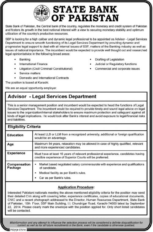 SBP.org.pk Jobs State Bank of Pakistan Careers
