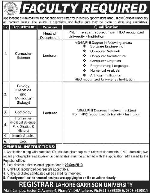 Teaching-Jobs-in-Lahore-Garrison-University
