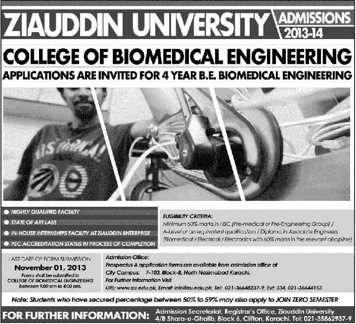 Ziauddin University Admission In BE Biomedical Engineering